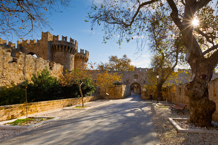 69736861 - palace of the grand master in kollakio town quarter in the historic town of rhodes.